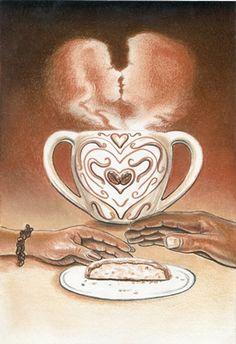 THE LOVERS from the Coffee Tarot http://Tarot.Coffee