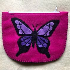 Excited to share this item from my #etsy shop: Butterfly pouch, small pouch, coin pouch, coin purse, card wallet, small butterfly wallet, felt wallet Felt Wallet, Card Wallet, Butterfly Felt, Little Flowers, Beautiful Butterflies, Birthday Presents, Felt Crafts, Coin Purse, Bows