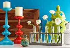 Love the colours, vase + art/real flowers
