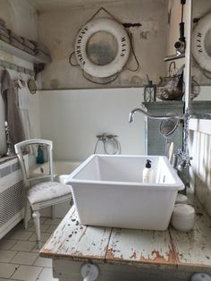 """princessgreeneye - love the wall color combination - plaster damage stains and all, in this vintage nautical inspired bathroom-- wonderful """"make-do"""" aesthetic, kudos princess green eye! Vintage Bathrooms, Dream Bathrooms, Wall Color Combination, Shabby Vintage, Vintage Nautical, Shabby Chic Zimmer, Country Interior Design, Shabby Home, White Rooms"""