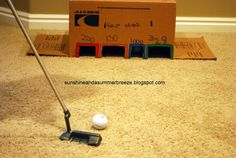Sunshine and a Summer Breeze: DIY Indoor Golf Game. Would be fun to use as a song review game for Primary.