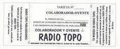Bono colaborador oyente de Radio Topo 1993-94