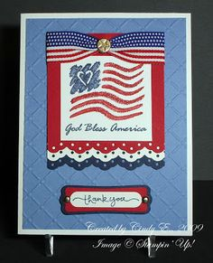 Heart's Delight Cards: using Stampin Up God Bless America 2001 special edition stamp Military Cards, Military Spouse, Star Cards, Scrapbook Cards, Scrapbooking, Masculine Cards, Sympathy Cards, Greeting Cards Handmade, Homemade Cards