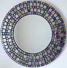 Beautiful Handmade Mosaic Mirror Bevelled Edge Glass Silver  Mosaic Tile