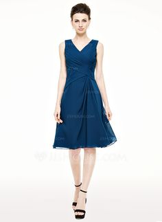 A-Line/Princess V-neck Knee-Length Ruffle Zipper Up Regular Straps Sleeveless Yes 2015 Ink Blue Spring Summer Fall General Plus Chiffon Mother of the Bride Dress