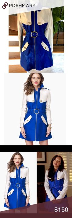 Juicy Couture blue color block sateen trench coat Authentic Juicy Couture blue and cream color block sateen trench coat. Size medium, fits true to size. Gold zipper and button details. Closure at the top of the front zipper. Inside is black with anchor print!  Beautiful coat! Very heavy material.  Make me an offer! No trades. Bundle to save! Juicy Couture Jackets & Coats Trench Coats