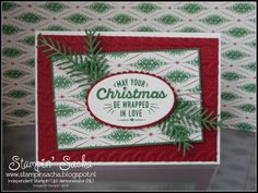 Stampin' Sacha - Stampin' Up! - Autumn-Winter Catalogue 23016 - Annual Catalogue 2016-2017 - Wrapped in Warmth - Layering Ovals Framelits - This Christmas DSP - Cable Knit Embossing Folder - Pretty Pines Thinlits - Christmas Card - #stampin_sacha - #stampinup