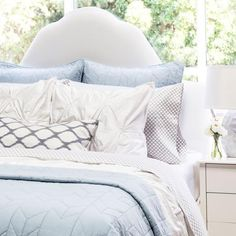 Crane & Canopy's Light Blue Diamond Box Stitch Quilt and Sham set offer great texture and style to your room. Blue quilts in two stitch styles to bring subtle style to your room Chic Bedding, Quilt Bedding, Luxury Bedding, Bedding Sets, Bedding Decor, Luxury Linens, Light Blue Bedding, Blue Duvet, Lilac Bedding