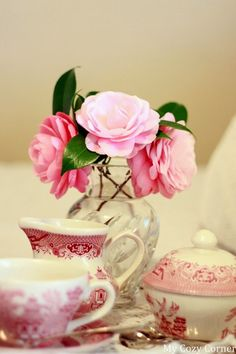 Red Transferware Tea Time with Roses ~MWP - My Cozy Corner