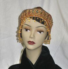 Gold Satin Flapper Cap w/glass bead cascade, rhinestone trim | HAT-A-TUDE - Accessories on ArtFire