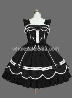Lace Applique Black Bow Cotton Sweet Lolita Dress