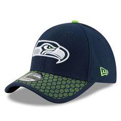 3bb3be373 Men s Seattle Seahawks New Era Navy 2017 Sideline Official 39THIRTY Flex Hat