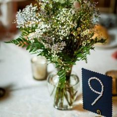 Love these custom wedding table numbers. Reception Decorations, Wedding Centerpieces, Table Decorations, Square Glass Vase, Color Of The Year 2017, Wedding Table Numbers, Unique Weddings, Silver Color, Decorative Items