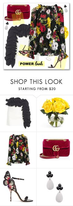 """""""Power Look"""" by nantucketteabook ❤ liked on Polyvore featuring MSGM, Dolce&Gabbana, Gucci, Sophia Webster, Rina Limor, Summer, floral and powerlook"""