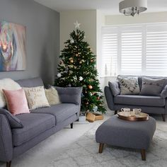 Pale grey living room with winter white textures. After festive living room ideas? This pale grey scheme is brought to life with a simple Christmas tree and snow white accessories. Decor To view further for this article, visit the image link. Simple Living Room, Decor, Living Room Color Schemes, Grey Sofa Living Room, Living Room Interior, Christmas Living Rooms, Living Room Diy, Living Decor, Living Room Grey