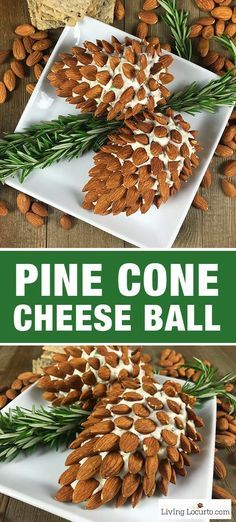 Pine Cone Cheese Ball Appetizer with Almonds. Fun and Easy Christmas Party Appetizer for the holiday season. Delicious fresh dill cheese ball recipe by http://LivingLocurto.com