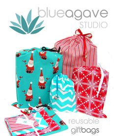 Fabric Christmas Gift Bags Set of Four by BlueAgaveStudio, $19.00 ...