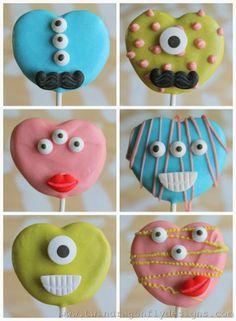 Valentine Monster Cookies - so cute! #yearofcelebrations