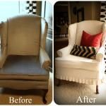 How to make a slip-cover for a lounge chair. Love the hint to use an old sheet to make up a template.