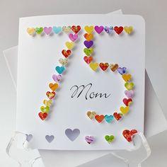 Handmade 3D '75' Card - 75th Birthday Card, Seventy Five, Seventy Fifth, Personalised, Name, Mother, Mum, Dad, CardsbyGaynor (BHA75)