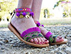 VENTAS DESDE 99 a 82 Sandalias de cuero étnica sandalias