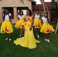 Beautiful Yellow Tsonga Bridesmaid's Dress 2020 Yellow Wedding Dress, Wedding Bridesmaid Dresses, Wedding Dress Styles, Bridesmaids, Gown Wedding, African Fashion Dresses, African Dress, African Wear, Tsonga Traditional Dresses
