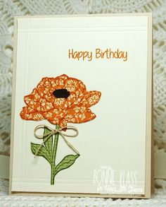 handmade birthday card from Stamping with Klass ... clean and simple ... paper pieced flower ... luv the look ...