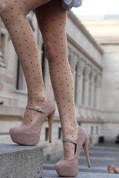 polka dot tights and hidden platform Mary Janes