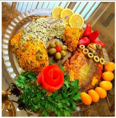 Sabzi polo (herb rice) with fried white fish - Traditional dish prepared for Iranian New Year - Beautiful design here.