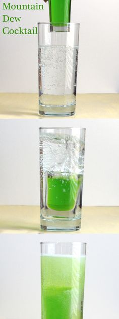 Mountain Dew cocktail with Midori, vodka, beer and 7-up.  Get this drink recipe at http://mixthatdrink.com/mountain-dew/
