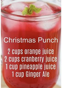 I can't wait to make this! Christmas Punch, Christmas Drinks, Holiday Drinks, Summer Drinks, Holiday Recipes, Holiday Treats, Holiday Punch, Holiday Foods, Christmas Treats