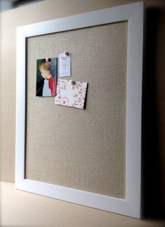 Bulletin board,, natural oatmeal-beige linen, add decorative push pins or cup hooks to hang necklaces for the bedroom