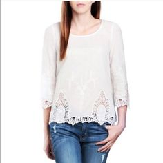 Beautiful  cream blouse with crochet design Beautiful  cream blouse with crochet designit is sheer but with a cute cream under shirt it will look super cute and ready for any outift Santori  Tops Blouses