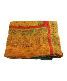 Take a look at this Gold & Orange Kantha Sari Throw by Modelli Creations on #zulily today!