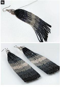 Серьги-кисточки из чешского бисера своими руками