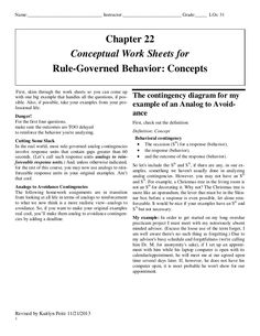 Applied Behavior Analysis 2nd Ed Cooper, Heron, & Heward - Worksheet for Chapter 22 - Rule Governed Behavior - Lecture notes are attached at the bottom of the page. Relating standards  to the BCBA board exam.