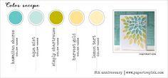 8th Anniversary Color Recipe 4 - Hawaiian Shores, Aqua Mist, Simply Chartreuse, Harvest Gold, Lemon Tart