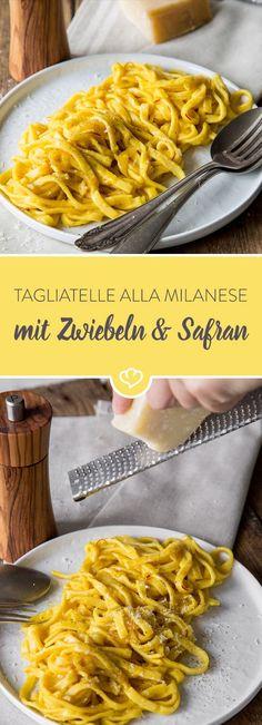 Wenn du ein schnelles aber unglaublich leckeres Pasta Rezept suchst probiere es doch mit Tagliatelle, Zwiebeln und Safran. Alla milanese halt!