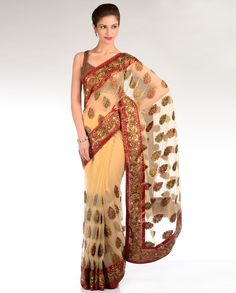 Sandalwood Beige Sari with Golden Leaf Motif