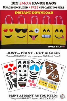 Emoji Party Favor Bags/ DIY Emoji Birthday Party Ideas/ Decorations/ Printable Emoji Faces/ plates/ Emoji Poop/ Favor bags/ Emoji/ candy/ goody/ goodie/ gift/ Treat/ bag/ bags/ box/ boxes/ emoji cake/ emoji cupcakes/ toppers/ cookies/emoji balloons/ stickers/ emoji piñata/ emoji dress tutu/ bottle labels/ bolo/ pastel/ emoji favors/ invites/ emoji birthday invitations/ banner/ free/ emoji/ preteen/ teen party ideas/ emoji backdrop/ emoji photo props/ emoji party games/ emoji party printables