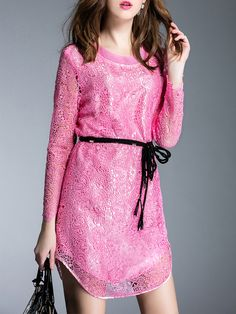 Buy it now. Hot Pink Crochet Hollow Out Tie-Waist Dress. Pink Round Neck Long Sleeve Lace Shift Short Plain Fabric has no stretch No Summer Casual Day Dresses. , vestidoinformal, casual, camiseta, playeros, informales, túnica, estilocamiseta, camisola, vestidodealgodón, vestidosdealgodón, verano, informal, playa, playero, capa, capas, vestidobabydoll, camisole, túnica, shift, pleat, pleated, drape, t-shape, daisy, foldedshoulder, summer, loosefit, tunictop, swing, day, offtheshoulder, smo...