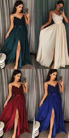2019 Chic A line Prom Dresses Spaghetti Straps Lace Long Prom Dress Evening Dresses #sevenprom #longpromdresses #aline #promdresses2019 Spaghetti Straps Long Simple Prom Dress with Split Party Dress