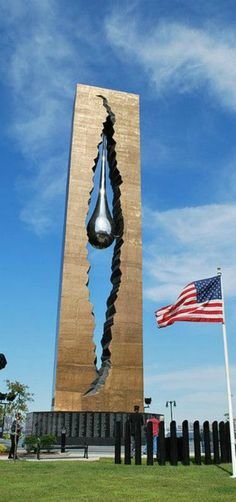 Teardrop Memorial from the Russian people and Sculptor for 9-11 Victims by moorland - Around the base of The Teardrop were the names of all those who died on 9/11 – including 26 Russians, New York
