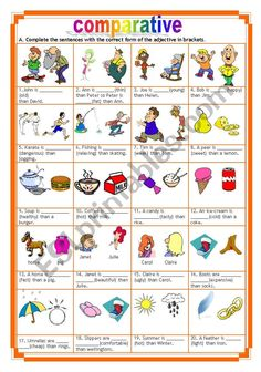gap-filling exercises with the comparative of adjectives (with key). English Teaching Resources, English Grammar Worksheets, English Activities, English Projects, English Lessons, Comparative Adjectives Worksheet, Cause And Effect Worksheets, Degrees Of Comparison, Grammar Anchor Charts