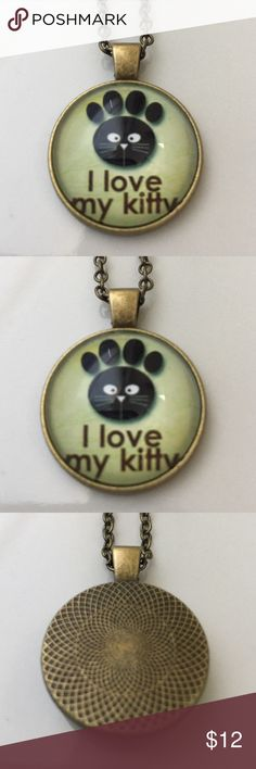 """""""I Love My Kitty"""" Cabochon Necklace 18"""" Bronze New """"I Love My Kitty"""" Cabochon Necklace 18"""" Bronze New Posherpooch Jewelry Necklaces"""