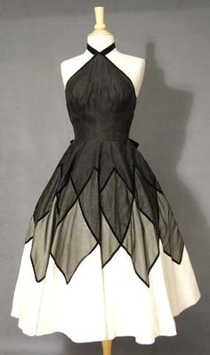vintage black and white Lily dress, halter neckline.