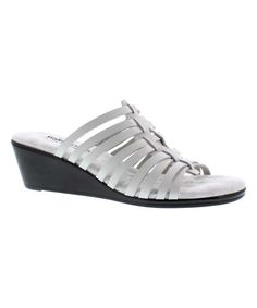 White Leather Nelson Wedge Sandal