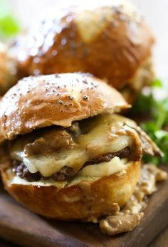 """MUSHROOM GRAVY & PEPPER JACK CHEESE SLIDER aka """"KNOCK YOUR SOCKS OFF"""" TAILGATE SLIDER ~~~ i am really into how there is no shame in this blogger's game when it comes to pushing this burger over the edge. lots of butter. lots of cream. plenty of cheese. generous slather of mayonnaise. double worcestershire application. wetting the fully constructed slider down with even more hip-enlarging goodness then shoving it into the oven for a 15min bake ♥ excuse me as i turn away to cry…"""