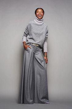 weite hosen trend grau winter herbst falten klassisch #fashion #style