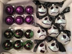 Christmas Decorations – Nightmare before Christmas inspired ornaments —-glass ornaments + glitter (gli… – Gestaltungsideen Disney Ornaments, Glitter Ornaments, Halloween Ornaments, Diy Christmas Ornaments, Glass Ornaments, Glitter Glue, Glitter Vinyl, Handmade Christmas Decorations, Xmas Decorations